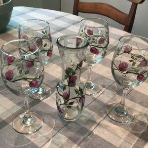 5 Piece Carafe and Wine Glass Set